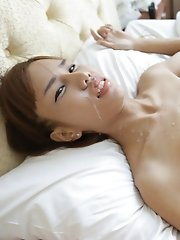 18 Year Old Skinny Thai Shemale Gets Facial After Sucking White Tourists Cock