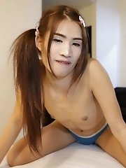 21 Year Old Small Tits Ladyboy Sucks And Fucks White Cock Then Eats His Cum
