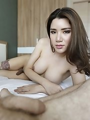 25yo Busty Thai Shemale Gets A Facial After Sucking His Big White Cock