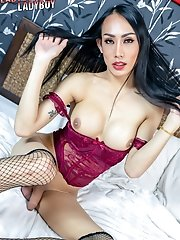 Pretty Ladyboy Bella Looks Really Hot In Her Outfit. Watch Her Showing Off Her Big Tits And Ass Then Jerks Off Her Cock Until She Unloads Her Cum!