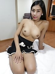 20yo busty Thai newhalf gets cum on herself after jerking her big cock