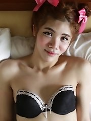 18yo slim ladyboy with small tits sucks a white cock and gets a facial