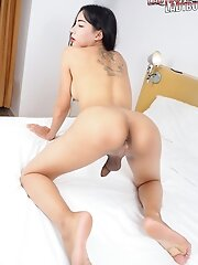 Pepo knows how to give a good show. Be her guest today and have fun watching this sexy ladyboy as she rocks her cock and shoots a load of cum!