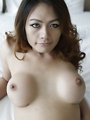 26yo Thai shemale teases foreigner with her big tits and hard cock