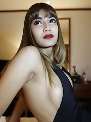 26yo sexy and busty Thai shemale fucks and sucks white tourists cock and gets a facial