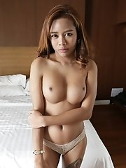 23yo shy Thai shemale sucks and fucks white tourists cock