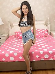 Ladyboy Nonny - Small Tits Babe in Jeans Shorts Bareback & Gape