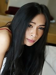 25yo Sexy Thai Ladyboy Sucking Big White Cock